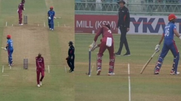 fghanistan vs west indies, ikram ali khil, ikram ali run out, shai hope run out, west indies cricket, AFG vs WI
