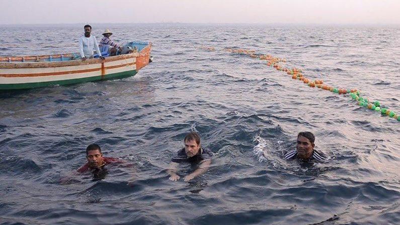 Rahul Gandhi In Sea 1