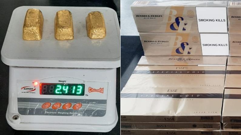 कर्नाटक: एयरपोर्ट पर यात्री से जब्त किया गया 1.10 करोड़ का सोना, विदेशी सिगरेट भी बरामद